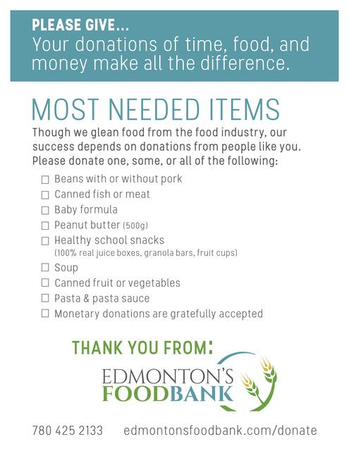 Most Needed Items by the Edmonton Food Bank